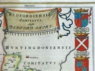 BEDFORDSHIRE, BEDFORDIENSIS COMITATUS, BLAEU Original antique hand col. map 1662